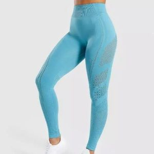 Blue seamless flawless high waisted leggings